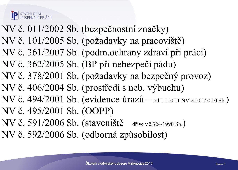 Školení svářečského dozoru Malenovice 2010 Strana 5 NV č. 011/2002 Sb. (bezpečnostní značky) NV č. 101/2005 Sb. (požadavky na pracoviště) NV č. 361/20