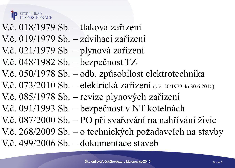 Školení svářečského dozoru Malenovice 2010 Strana 47