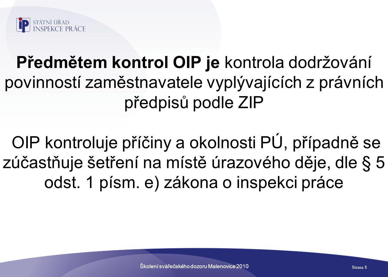 Školení svářečského dozoru Malenovice 2010 Strana 8 Předmětem kontrol OIP je kontrola dodržování povinností zaměstnavatele vyplývajících z právních př