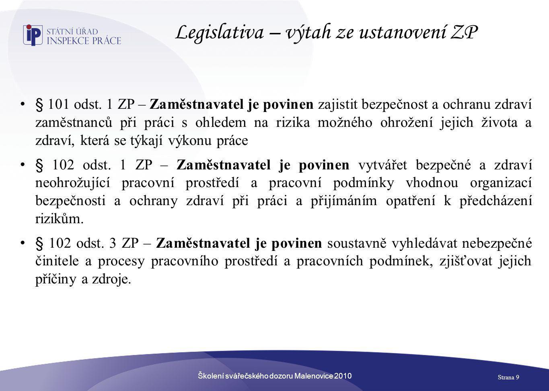 Školení svářečského dozoru Malenovice 2010 Strana 9 Legislativa – výtah ze ustanovení ZP • § 101 odst. 1 ZP – Zaměstnavatel je povinen zajistit bezpeč