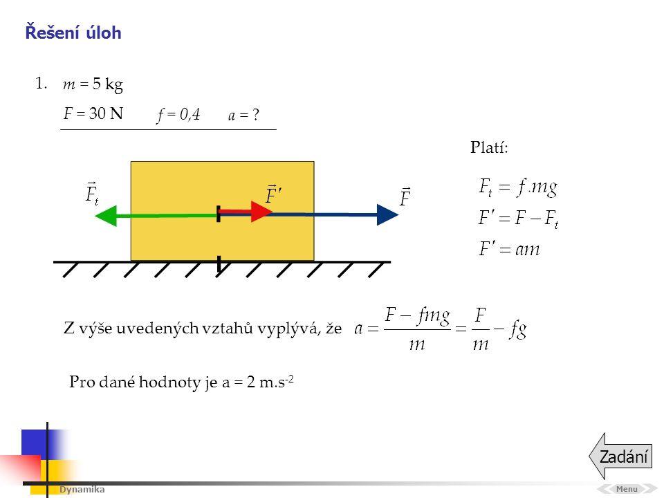 Dynamika Řešení úloh 1. Menu Zadání Platí: m = 5 kg a = ? f = 0,4 Pro dané hodnoty je a = 2 m.s -2 F = 30 N Z výše uvedených vztahů vyplývá, že