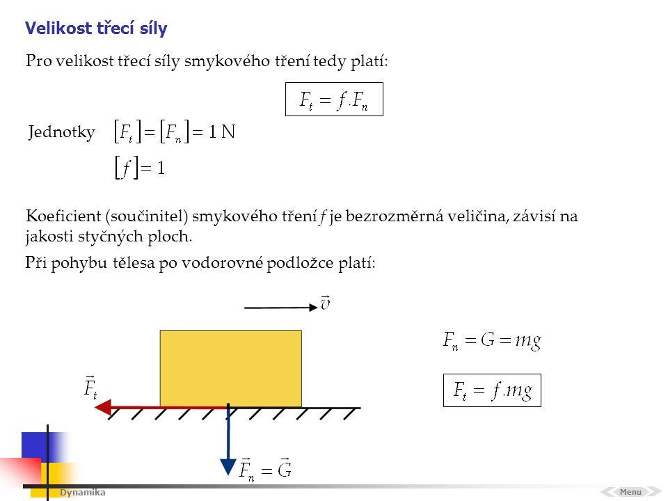 Dynamika Velikost třecí síly Menu Jednotky Koeficient (součinitel) smykového tření f je bezrozměrná veličina, závisí na jakosti styčných ploch. Pro ve