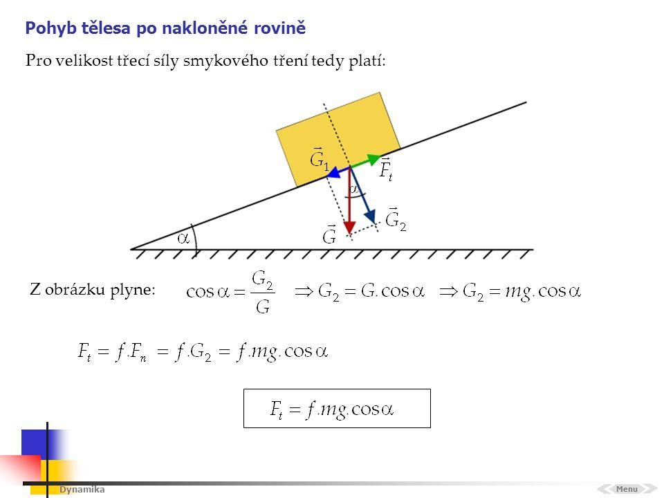 Dynamika Pohyb tělesa po nakloněné rovině Menu Z obrázku plyne: Pro velikost třecí síly smykového tření tedy platí: