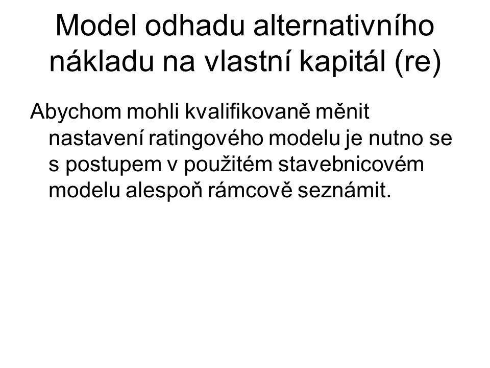 Model odhadu alternativního nákladu na vlastní kapitál (re) Abychom mohli kvalifikovaně měnit nastavení ratingového modelu je nutno se s postupem v po