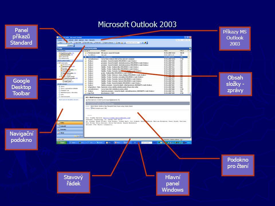 Microsoft Outlook 2003 Panel příkazů Standard Navigační podokno Podokno pro čtení Stavový řádek Příkazy MS Outlook 2003 Obsah složky - zprávy Google D