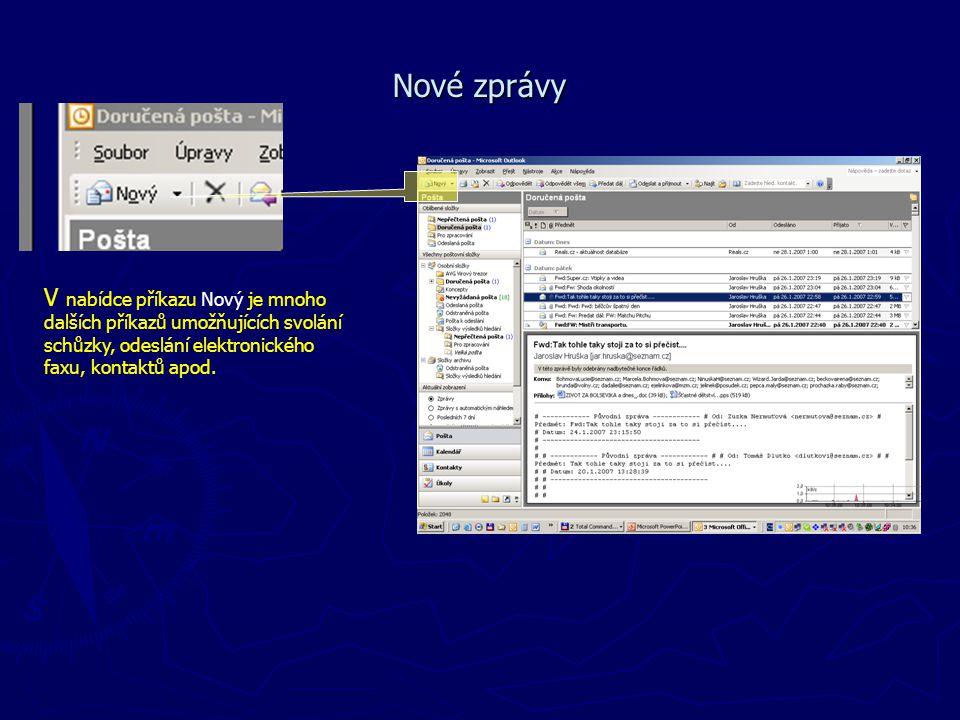 Nové zprávy V nabídce příkazu Nový je mnoho dalších příkazů umožňujících svolání schůzky, odeslání elektronického faxu, kontaktů apod.