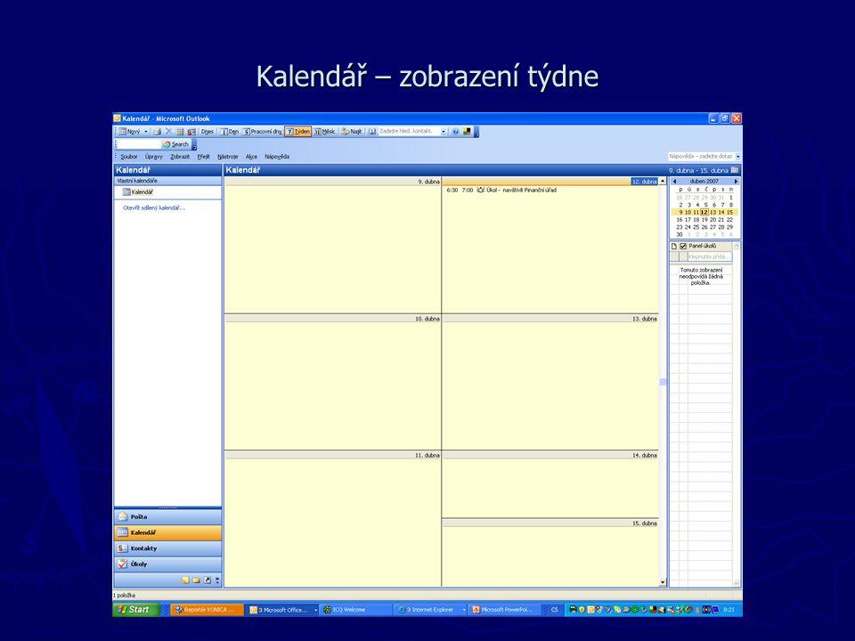 Kalendář – zobrazení týdne
