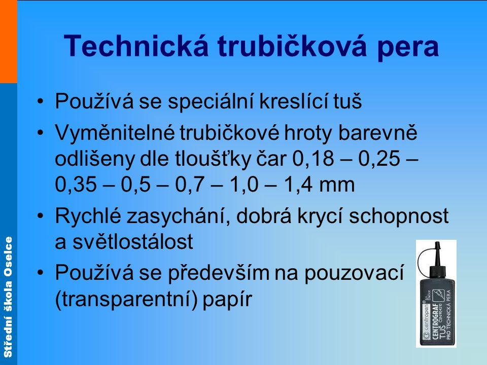 Technická trubičková pera •Používá se speciální kreslící tuš •Vyměnitelné trubičkové hroty barevně odlišeny dle tloušťky čar 0,18 – 0,25 – 0,35 – 0,5