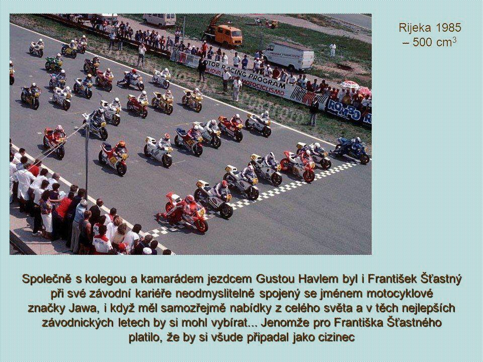 S třistapadesátkou v plném tempu na trati v anglickém Doningtonu (1982) Na Salzburgringu1981 s Johnem Surteesem. Fanda je spokojen, za nejrychlejší ča