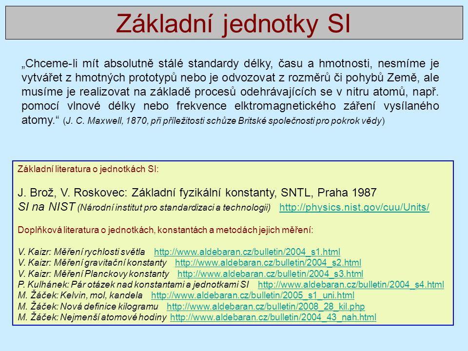 Základní jednotky SI Základní literatura o jednotkách SI: J.