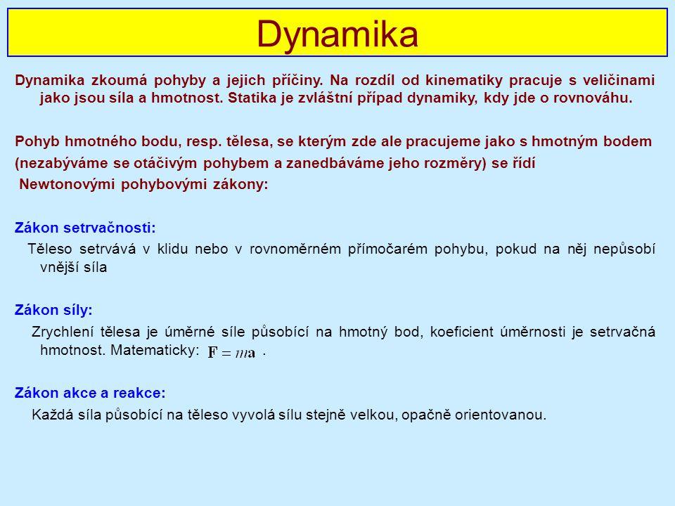 Dynamika zkoumá pohyby a jejich příčiny.
