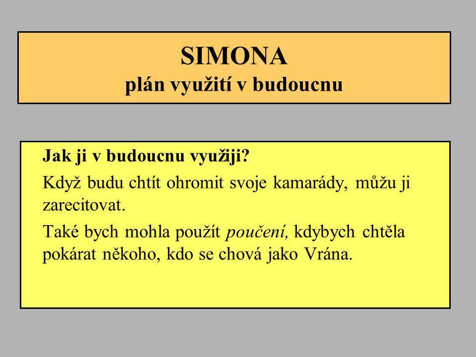 SIMONA plán využití v budoucnu Jak ji v budoucnu využiji? Když budu chtít ohromit svoje kamarády, můžu ji zarecitovat. Také bych mohla použít poučení,