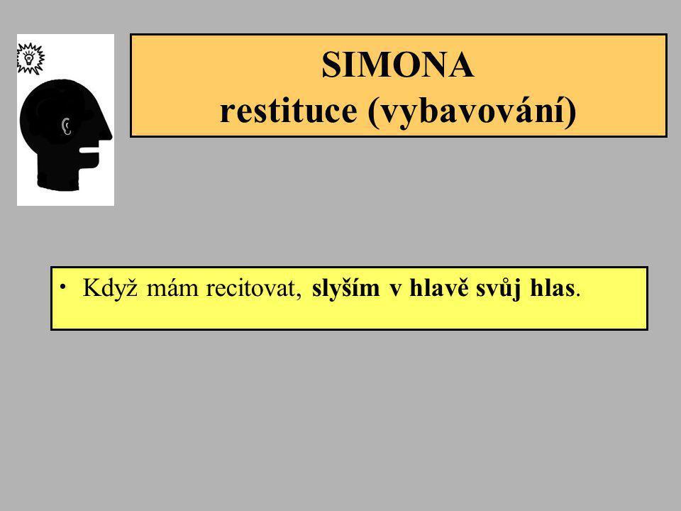 SIMONA restituce (vybavování) • Když mám recitovat, slyším v hlavě svůj hlas.