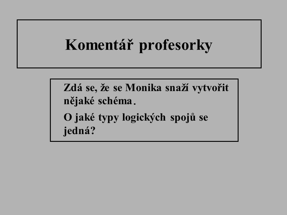 Komentář profesorky Zdá se, že se Monika snaží vytvořit nějaké schéma. O jaké typy logických spojů se jedná?
