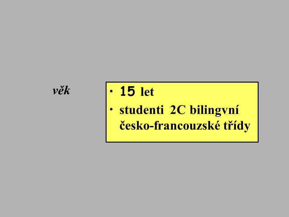 věk •15 let • studenti 2C bilingvní česko-francouzské třídy