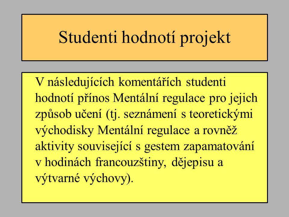 Studenti hodnotí projekt V následujících komentářích studenti hodnotí přínos Mentální regulace pro jejich způsob učení (tj. seznámení s teoretickými v