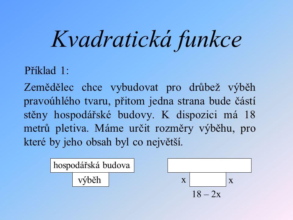 Uvažujme kvadratickou funkci g: y = x 2 Zapište do tabulky funkční hodnoty v bodech –3; –2; –1; –0,5; 0; 0,5; 1; 2 a 3.