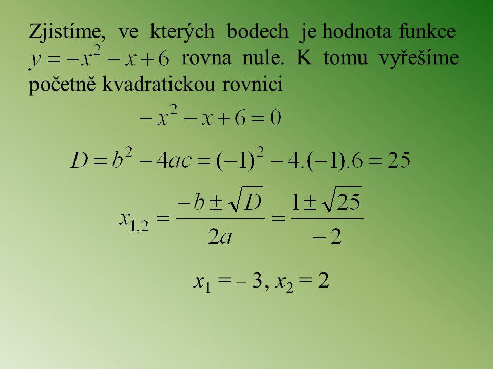 Zjistíme, ve kterých bodech je hodnota funkce rovna nule. K tomu vyřešíme početně kvadratickou rovnici x 1 = – 3, x 2 = 2