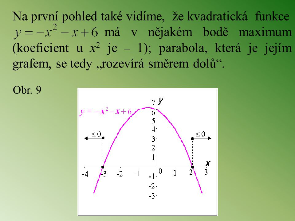 """Na první pohled také vidíme, že kvadratická funkce má v nějakém bodě maximum (koeficient u x 2 je – 1); parabola, která je jejím grafem, se tedy """"roze"""