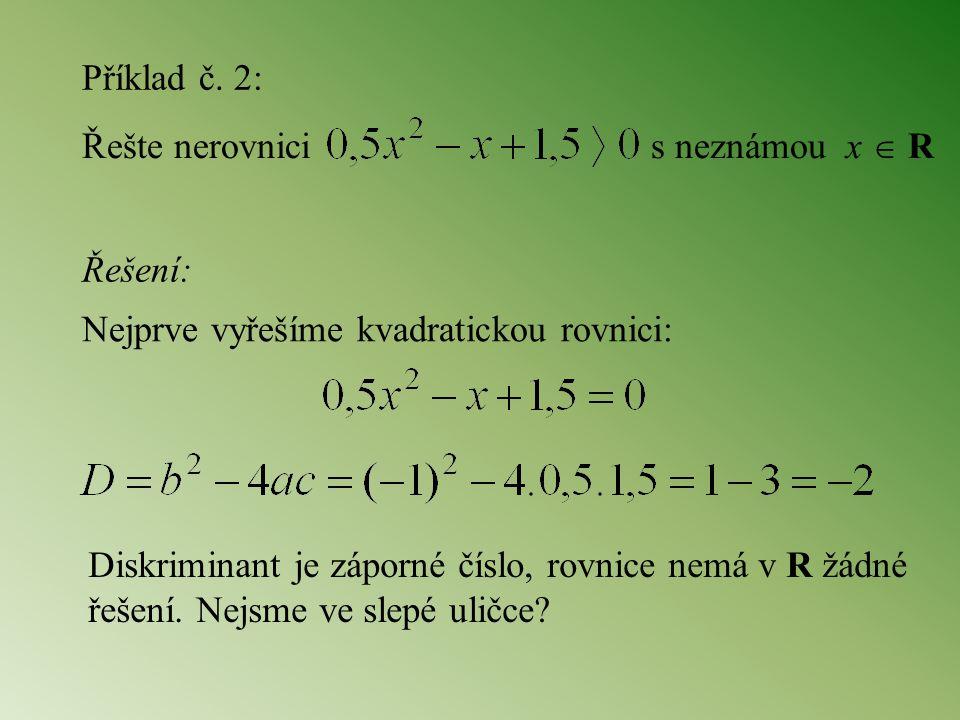 Řešte nerovnici s neznámou x  R Příklad č. 2: Řešení: Nejprve vyřešíme kvadratickou rovnici: Diskriminant je záporné číslo, rovnice nemá v R žádné ře
