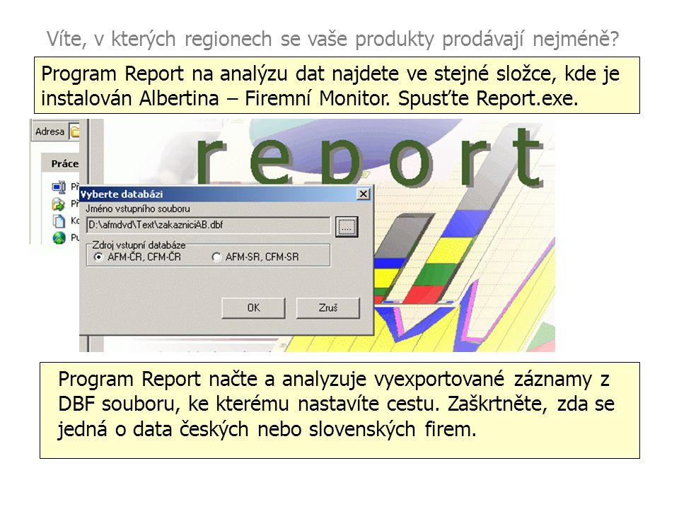 Víte, v kterých regionech se vaše produkty prodávají nejméně? Program Report na analýzu dat najdete ve stejné složce, kde je instalován Albertina – Fi