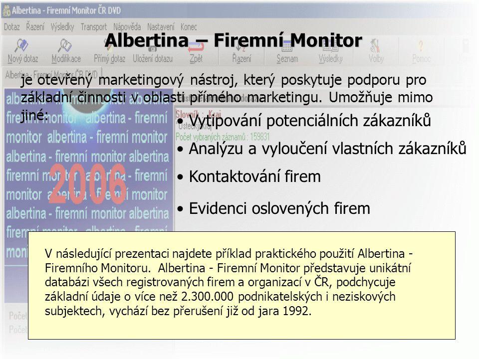 Albertina – Firemní Monitor je otevřený marketingový nástroj, který poskytuje podporu pro základní činnosti v oblasti přímého marketingu. Umožňuje mim