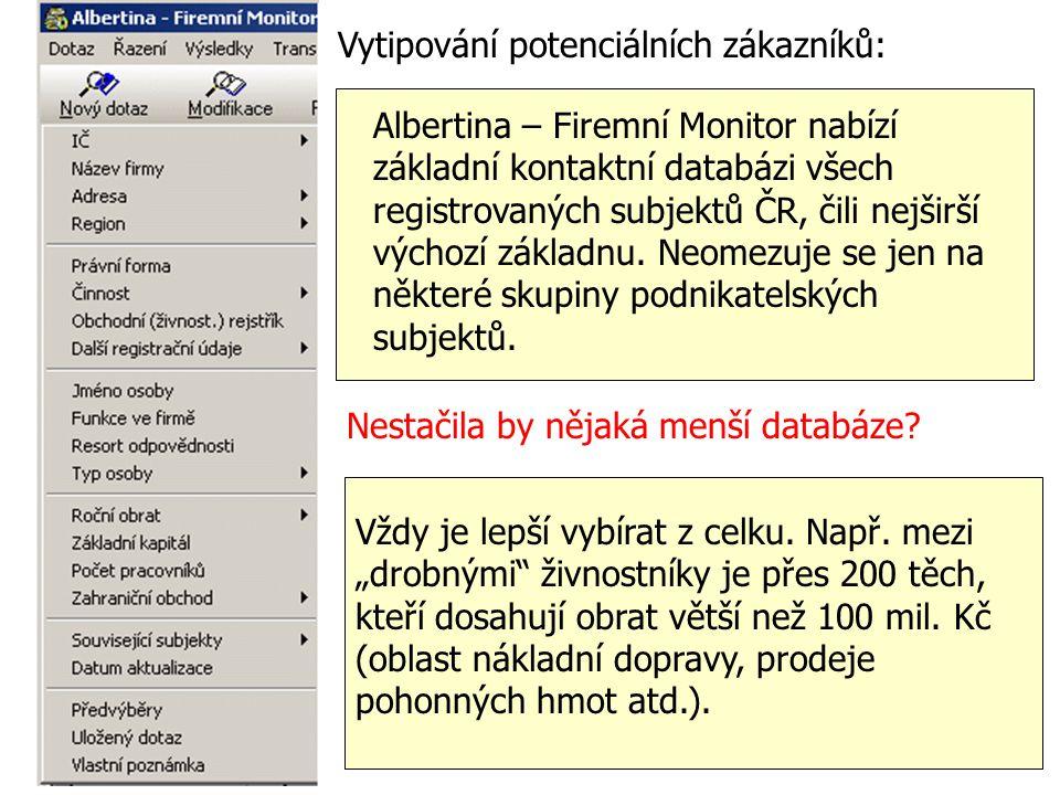 Vytipování potenciálních zákazníků: Albertina – Firemní Monitor nabízí základní kontaktní databázi všech registrovaných subjektů ČR, čili nejširší výc