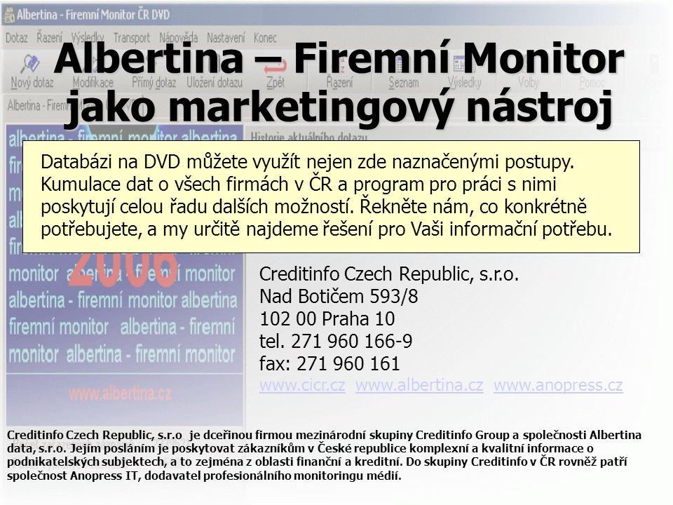 Albertina – Firemní Monitor jako marketingový nástroj Databázi na DVD můžete využít nejen zde naznačenými postupy. Kumulace dat o všech firmách v ČR a