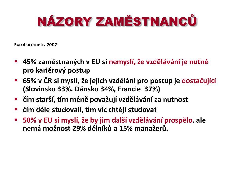 NÁZORY ZAMĚSTNANCŮ Eurobarometr, 2007  45% zaměstnaných v EU si nemyslí, že vzdělávání je nutné pro kariérový postup  65% v ČR si myslí, že jejich vzdělání pro postup je dostačující (Slovinsko 33%.
