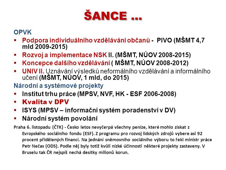 ŠANCE … OPVK  Podpora individuálního vzdělávání občanů - PIVO (MŠMT 4,7 mld 2009-2015)  Rozvoj a implementace NSK II. (MŠMT, NÚOV 2008-2015)  Konce