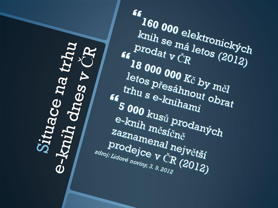 Situace na trhu e-knih dnes v Č R  160 000 elektronických knih se má letos (2012) prodat v Č R  18 000 000 K č by m ě l letos p ř esáhnout obrat trh