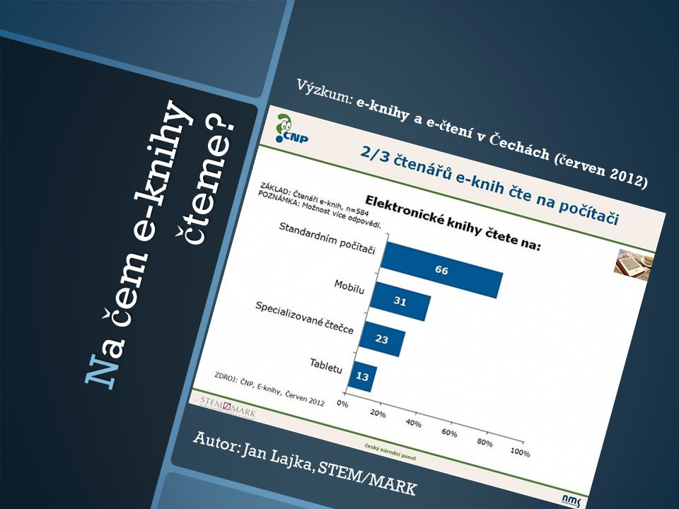 Na č em e-knihy č teme? Autor: Jan Lajka, STEM/MARK Výzkum: e-knihy a e- č tení v Č echách ( č erven 2012)