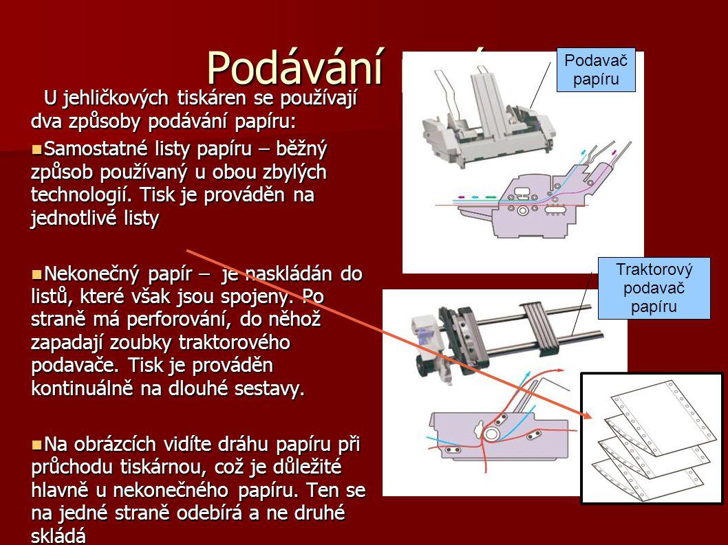 Podávání papíru U jehličkových tiskáren se používají dva způsoby podávání papíru:  Samostatné listy papíru – běžný způsob používaný u obou zbylých te