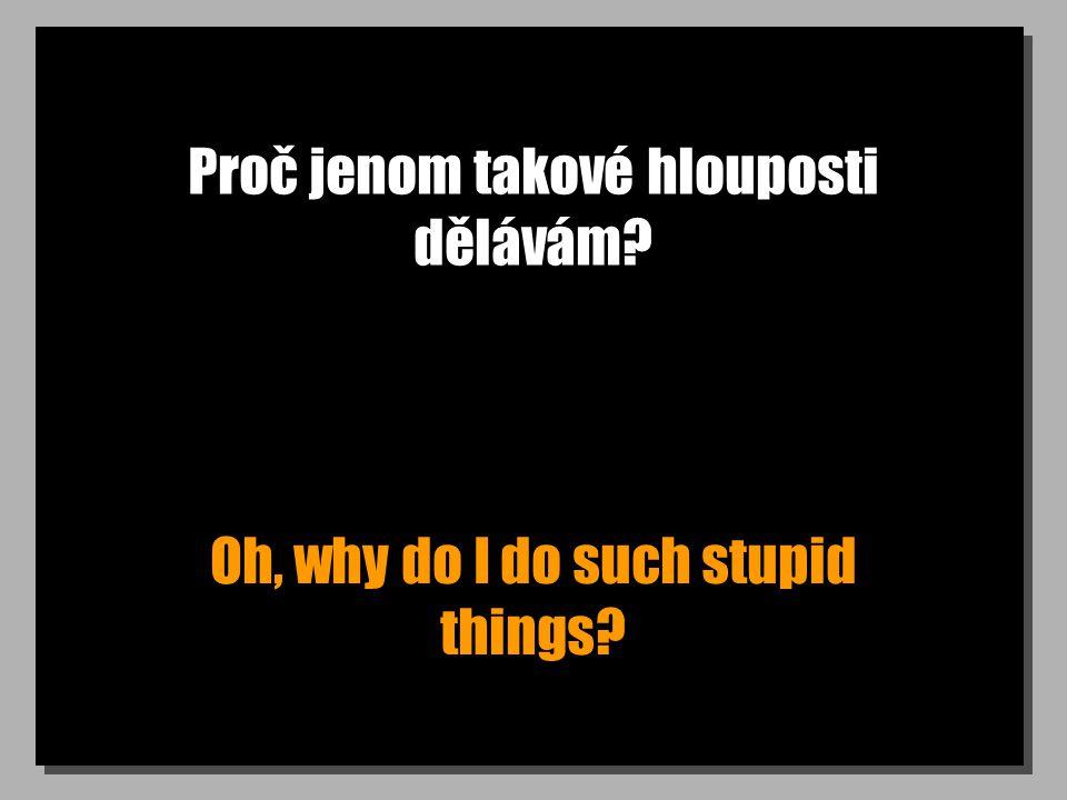Proč jenom takové hlouposti dělávám Oh, why do I do such stupid things