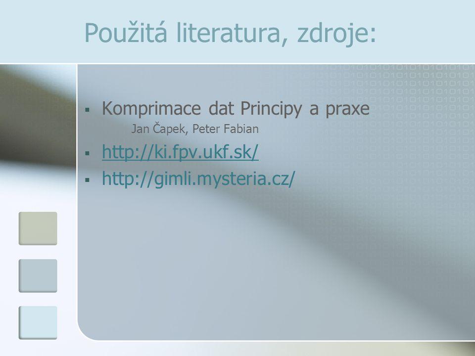 Použitá literatura, zdroje:  Komprimace dat Principy a praxe Jan Čapek, Peter Fabian  http://ki.fpv.ukf.sk/ http://ki.fpv.ukf.sk/  http://gimli.mys