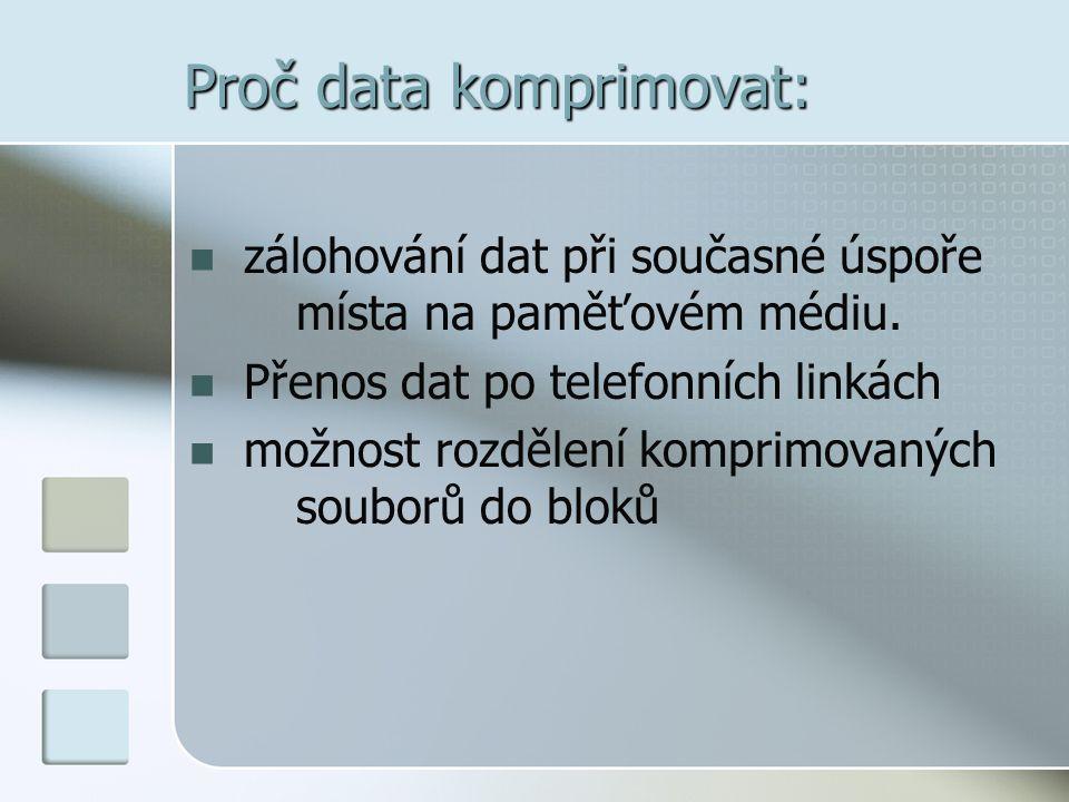 Proč data komprimovat:  zálohování dat při současné úspoře místa na paměťovém médiu.  Přenos dat po telefonních linkách  možnost rozdělení komprimo