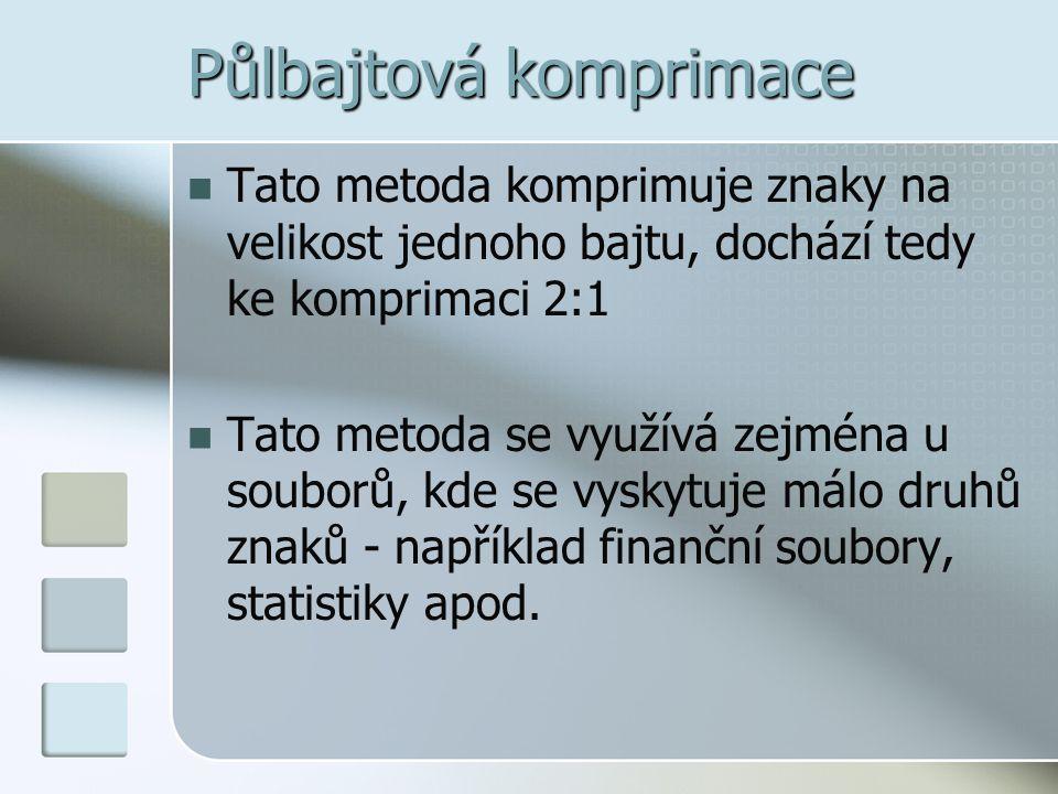 Půlbajtová komprimace  Tato metoda komprimuje znaky na velikost jednoho bajtu, dochází tedy ke komprimaci 2:1  Tato metoda se využívá zejména u soub