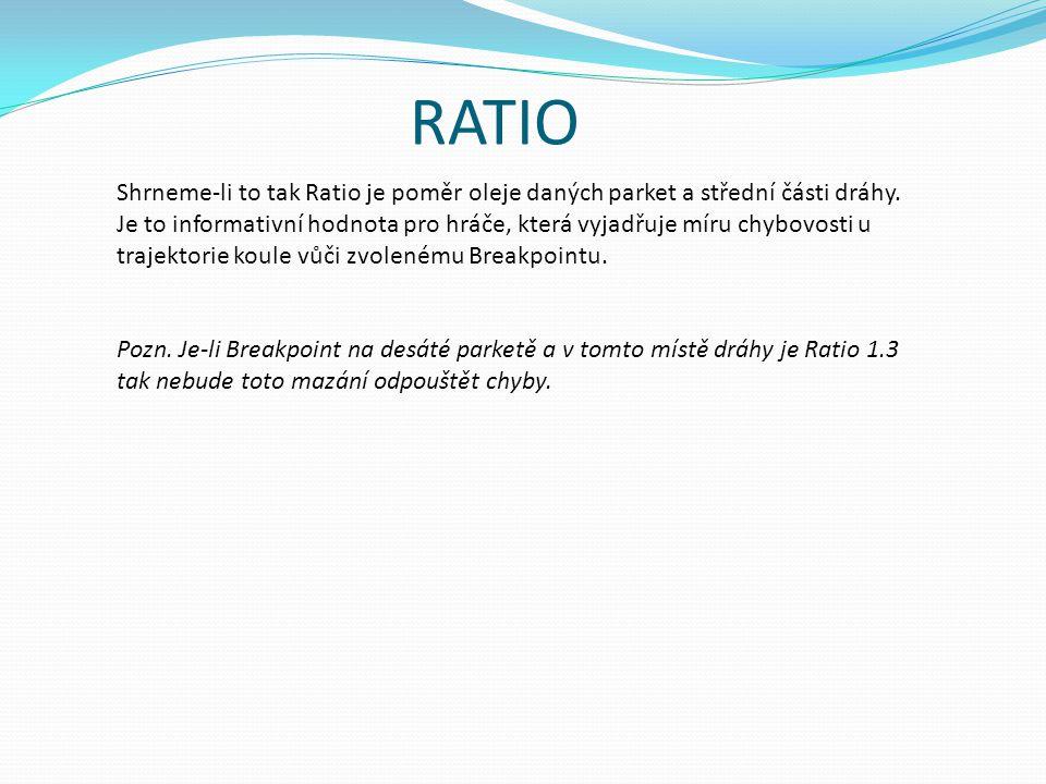 RATIO Shrneme-li to tak Ratio je poměr oleje daných parket a střední části dráhy.