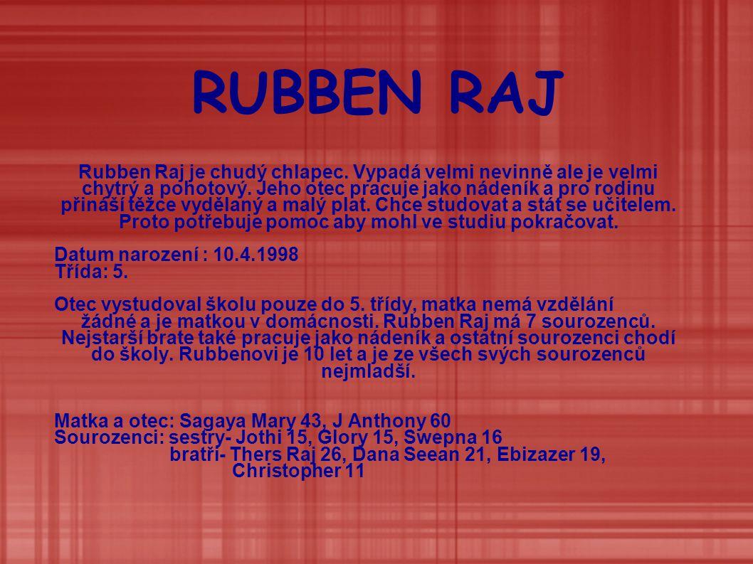 RUBBEN RAJ Rubben Raj je chudý chlapec.Vypadá velmi nevinně ale je velmi chytrý a pohotový.