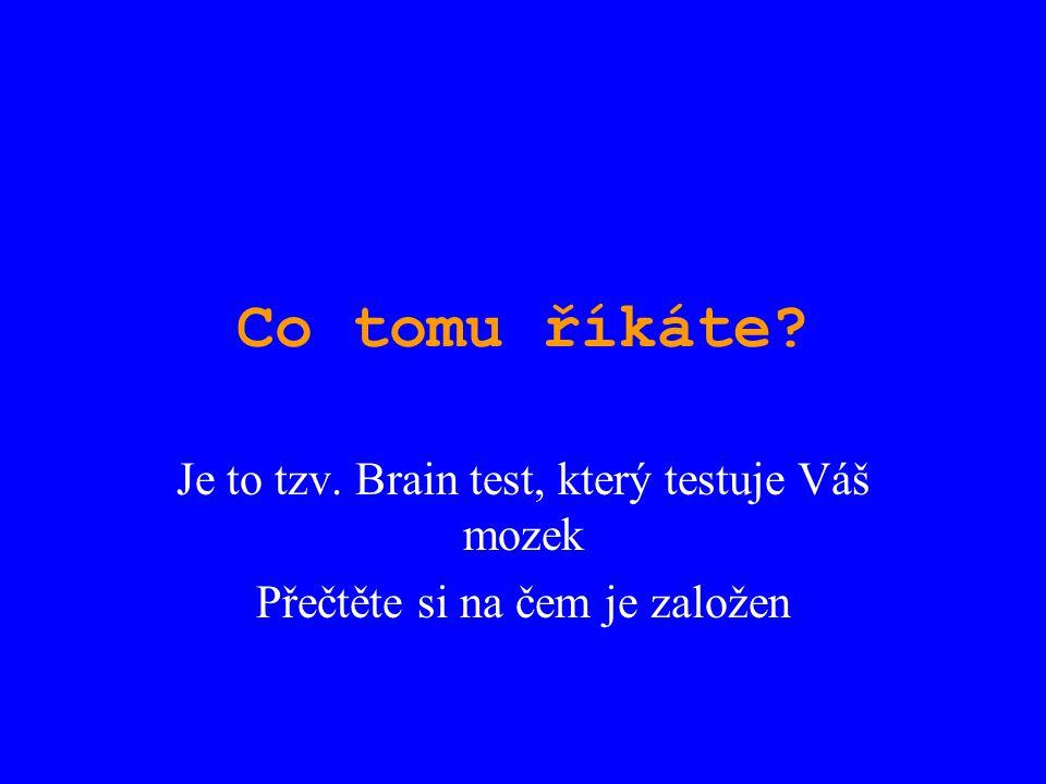 Co tomu říkáte? Je to tzv. Brain test, který testuje Váš mozek Přečtěte si na čem je založen