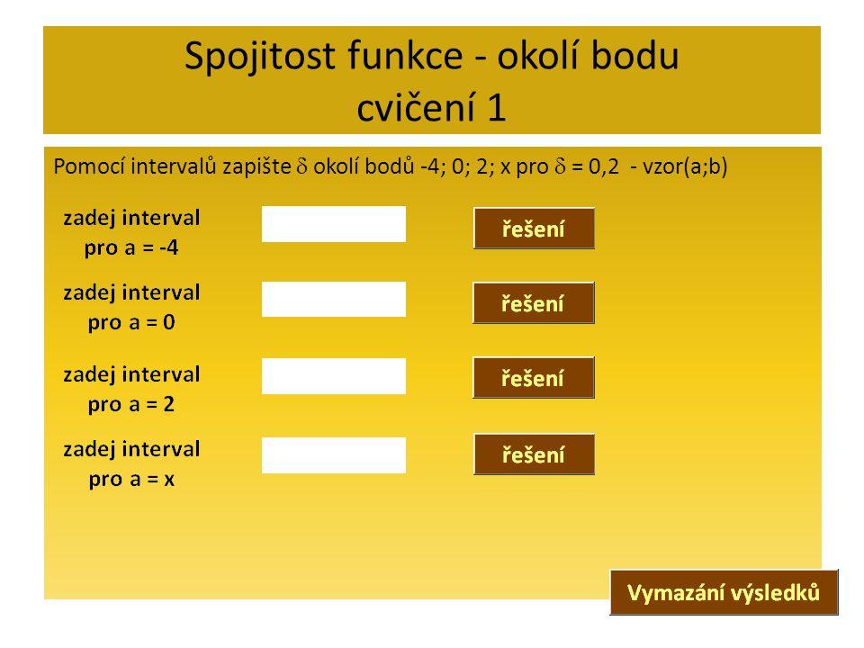 Spojitost funkce - okolí bodu cvičení 1 Pomocí intervalů zapište  okolí bodů -4; 0; 2; x pro  = 0,2 - vzor(a;b)