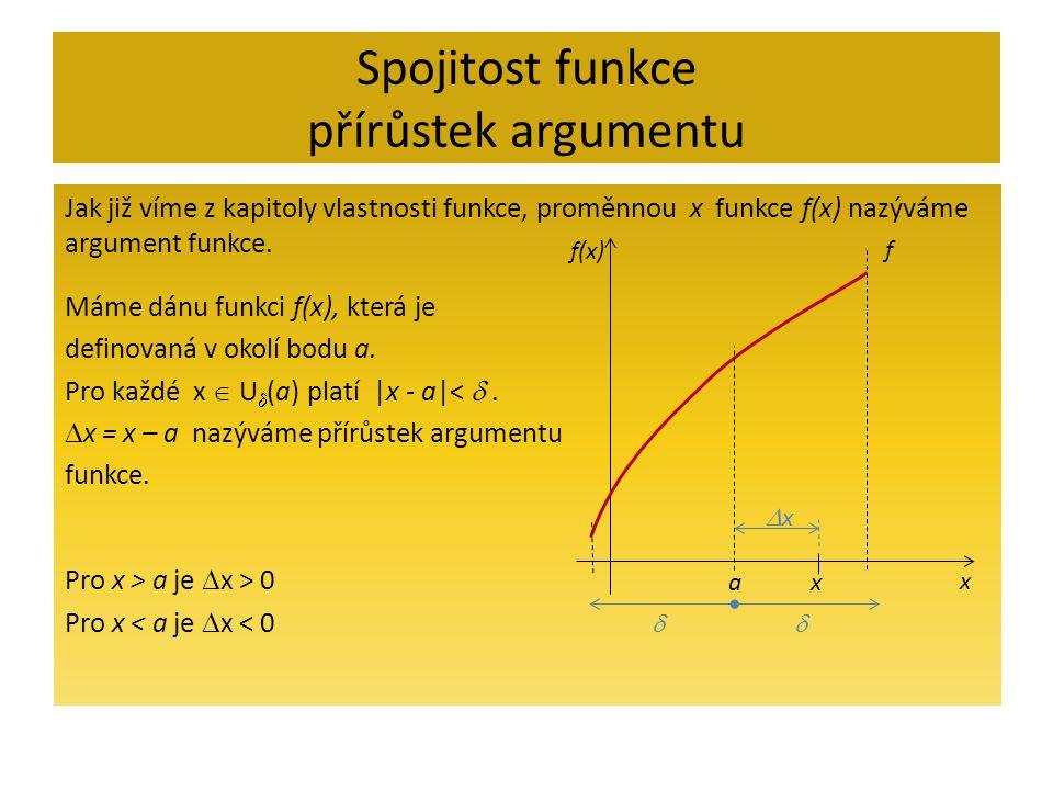 Spojitost funkce přírůstek argumentu Jak již víme z kapitoly vlastnosti funkce, proměnnou x funkce f(x) nazýváme argument funkce.