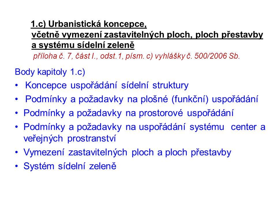 1.c) Urbanistická koncepce, včetně vymezení zastavitelných ploch, ploch přestavby a systému sídelní zeleně příloha č. 7, část I., odst.1, písm. c) vyh