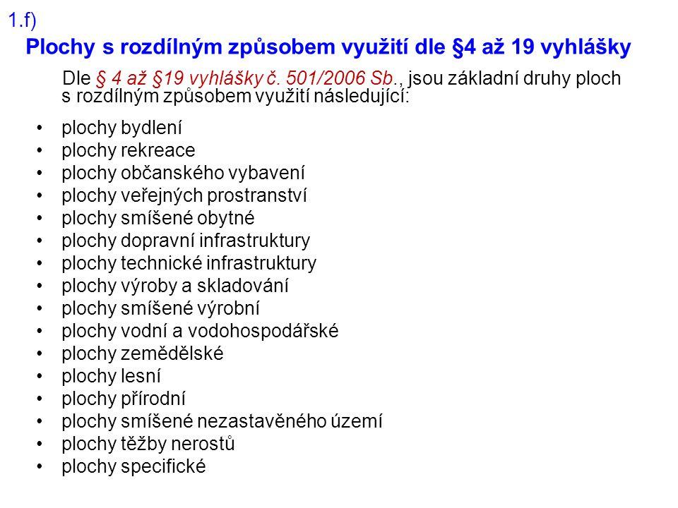 Plochy s rozdílným způsobem využití dle §4 až 19 vyhlášky Dle § 4 až §19 vyhlášky č. 501/2006 Sb., jsou základní druhy ploch s rozdílným způsobem využ