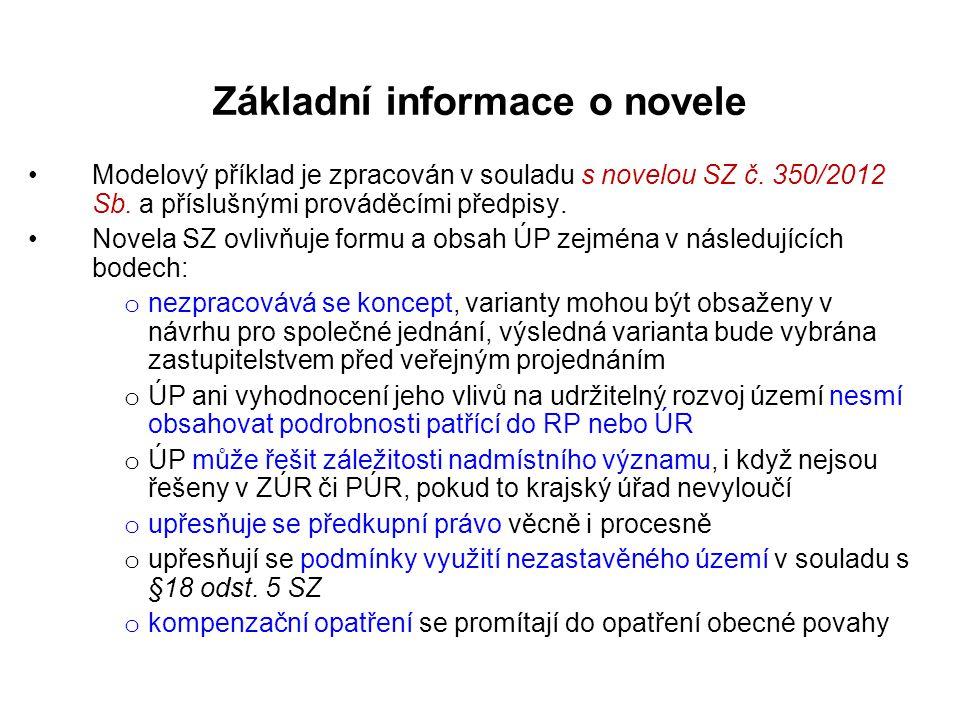 Základní informace o novele •Modelový příklad je zpracován v souladu s novelou SZ č. 350/2012 Sb. a příslušnými prováděcími předpisy. •Novela SZ ovliv