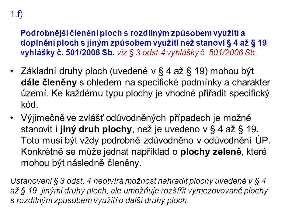 Podrobnější členění ploch s rozdílným způsobem využití a doplnění ploch s jiným způsobem využití než stanoví § 4 až § 19 vyhlášky č. 501/2006 Sb. viz