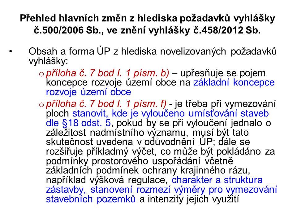 Přehled hlavních změn z hlediska požadavků vyhlášky č.500/2006 Sb., ve znění vyhlášky č.458/2012 Sb. •Obsah a forma ÚP z hlediska novelizovaných požad