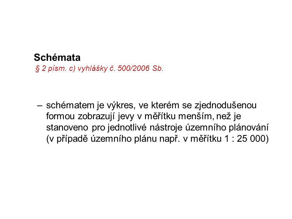 Schémata § 2 písm. c) vyhlášky č. 500/2006 Sb. –schématem je výkres, ve kterém se zjednodušenou formou zobrazují jevy v měřítku menším, než je stanove