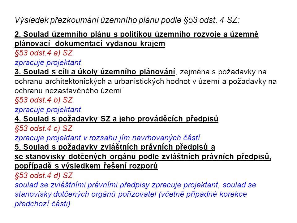 2. Soulad územního plánu s politikou územního rozvoje a územně plánovací dokumentací vydanou krajem §53 odst.4 a) SZ zpracuje projektant 3. Soulad s c