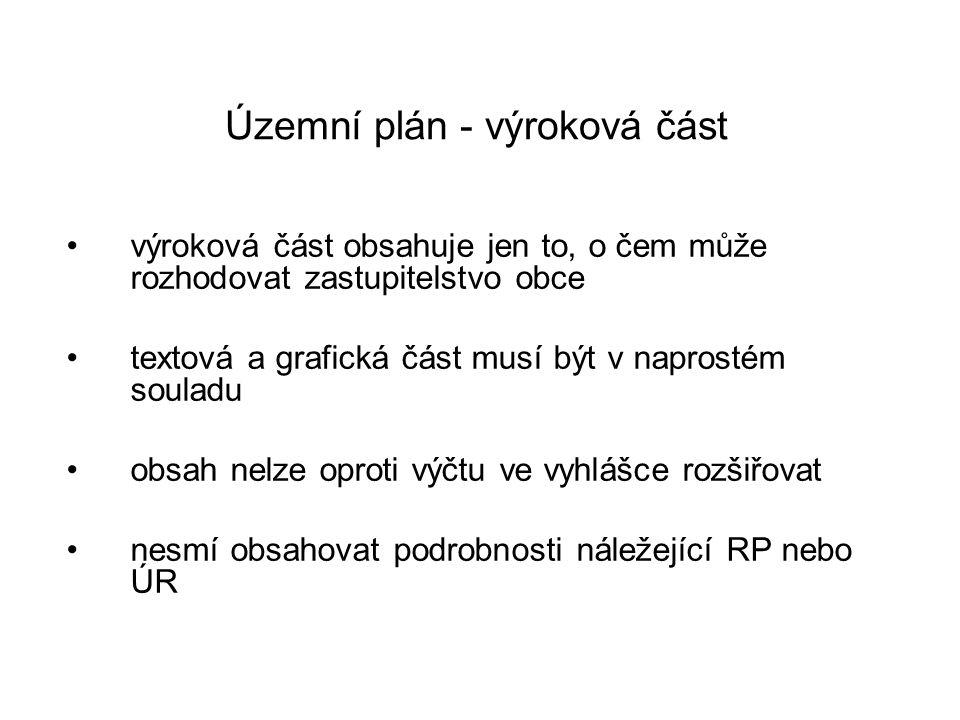 Územní plán - výroková část •výroková část obsahuje jen to, o čem může rozhodovat zastupitelstvo obce •textová a grafická část musí být v naprostém so